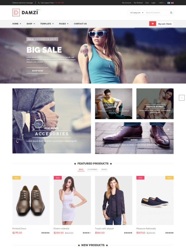 Vina Damzi - A Fashion & Clothing Joomla Template