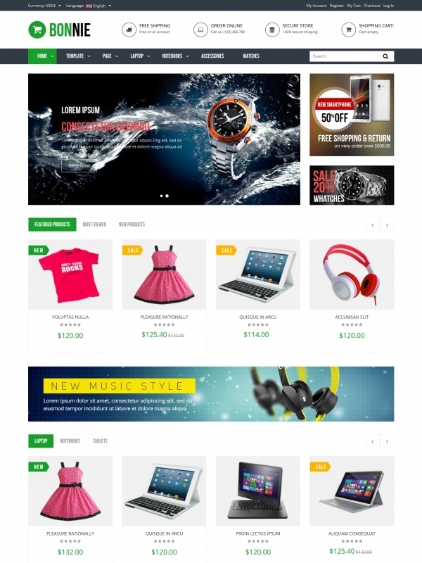 Vina Bonnie - Responsive Multipurpose VirtueMart Template