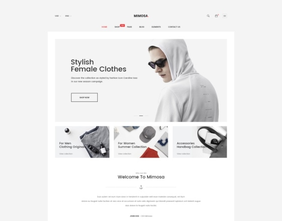 Mimosa - Modern Fashion WooCommerce WordPress Theme