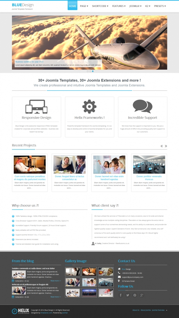 Blue Design II - Free Responsive Joomla 3 Template for Business